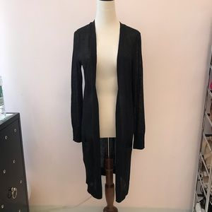 HALOGEN Black Long Linen Cardigan
